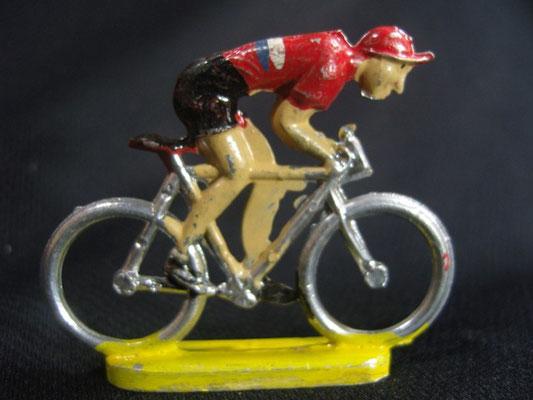 Cycliste en sprint Maillot Rouge 2 lignes Blanc et Bleu