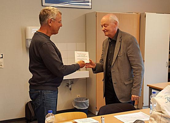 22. Juni 2018 - Preisgeld für den 3. Rang der Stadtmeisterschaft 2018: Fritz Fegebank - Foto © Wofgang Wilke