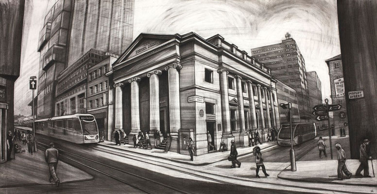 The sunny side of the street (the Portico) - charcoal