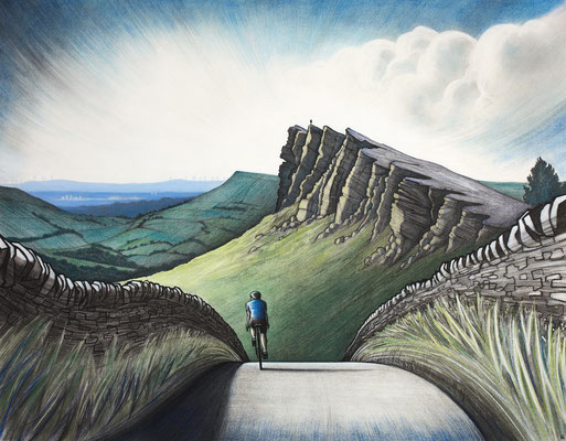 'Windgather Rocks' (charcoal, coloured chalk and acrylic)