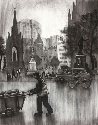 Albert Square (after Valette) - charcoal
