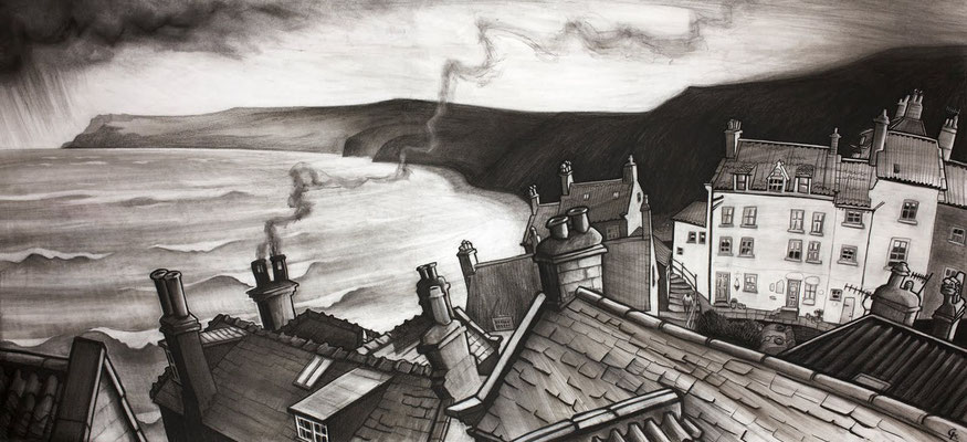 Robin Hood's Bay from Terry's (charcoal)