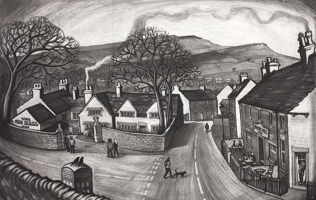 'Old Hall and Paper Mill' (charcoal)