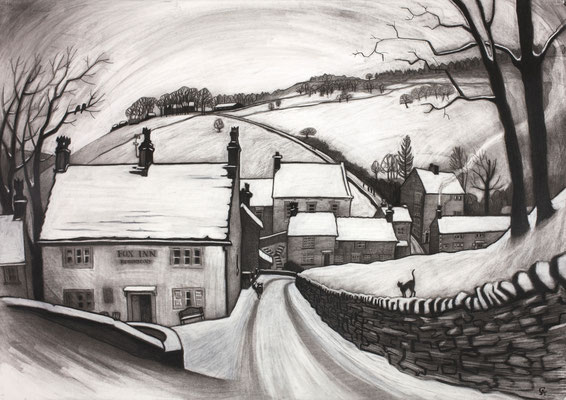 'First snow, Brookbottom' - charcoal
