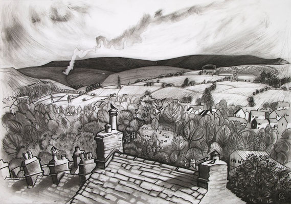 'Burning the heather' (charcoal)
