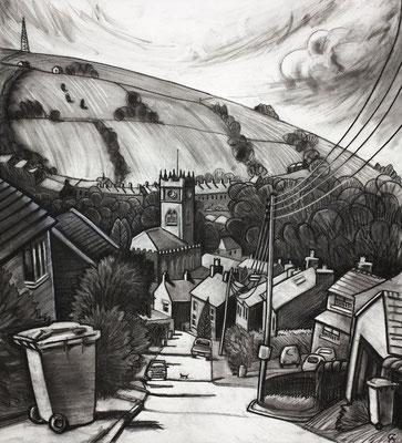 'Bin day on Cote Lane' (charcoal)
