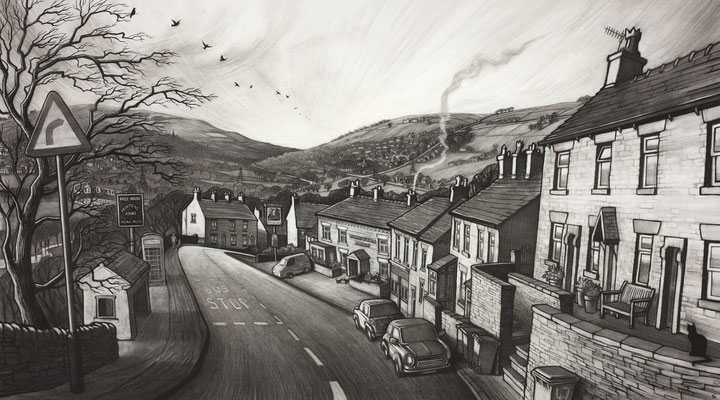 'Past the Printers' (charcoal)