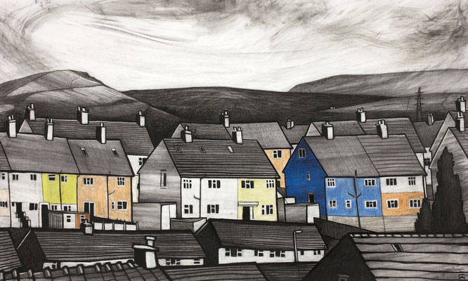 'Peak Road and the Shooting Cabin' (charcoal and chalk)