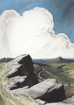'The Cat & Fiddle from Shining Tor'  (charcoal and chalk)