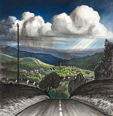 'Sunshine and rain' (charcoal and chalk)