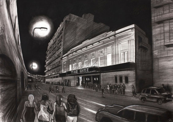 'Through these doors walked the most beautiful women in the world' (The Ritz)- charcoal