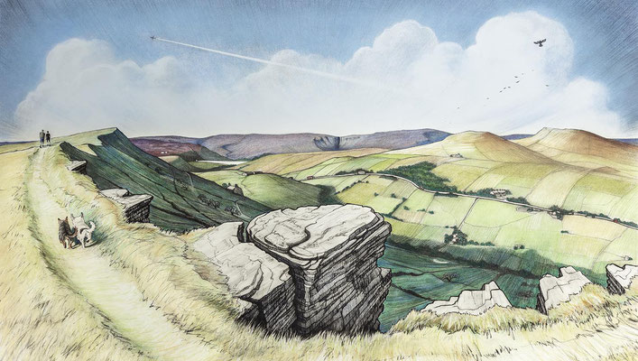 'All's Right With The World (Walking Up Big Stone)' (charcoal and coloured pastel)