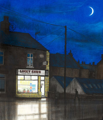 'Lucky Tree and moon' (charcoal and chalk)