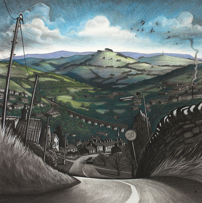 'Down Eaves Knoll' (charcoal and chalk)