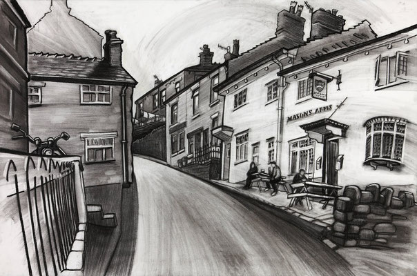 'Up High Street' (charcoal)