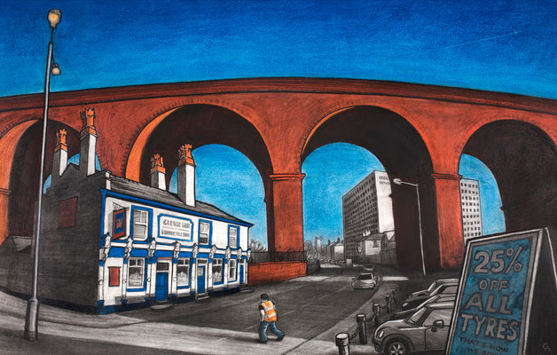 The Crown of Stockport (charcoal and chalk)
