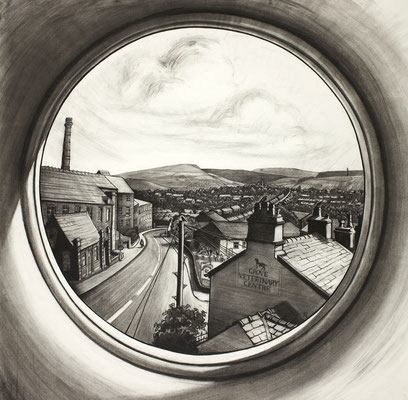 'Lily's window' (charcoal)