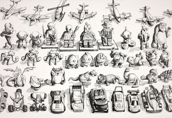 'Kinder Egg Collection 1' (pen and ink)