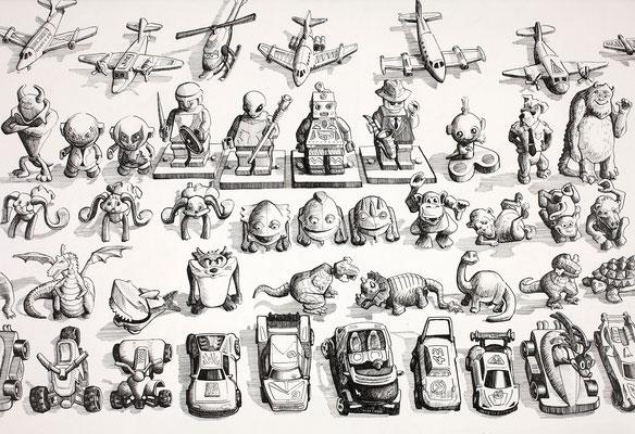 'Kinder Egg Collection 1' (pen and ink)