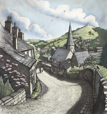 'Midsummer In Bollington' (charcoal and coloured pastel)
