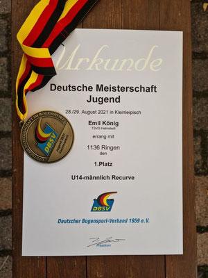 Die Urkunde des frisch gekürten Deutschen Meisters