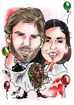 Caricatura de pareja, totalmente personalizada a color: 40€