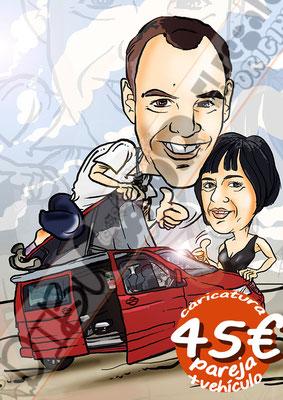 Caricatura pareja vehículo color cuerpo entero por 45€