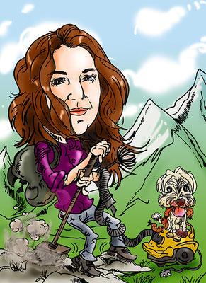 Caricatura individual a todo color, con todos los detalles + mascota: 25€