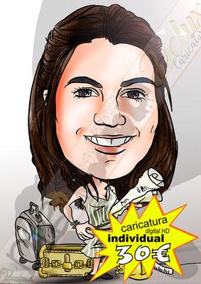 Caricatura personalizada individual cuerpo entero detalles oficio a color formato digital alta resolución