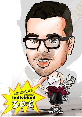 Caricatura personalizada individual cuerpo entero color detalles afición hobbye