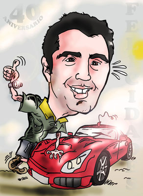 Caricatura de una persona + vehículo a todo color: 25€