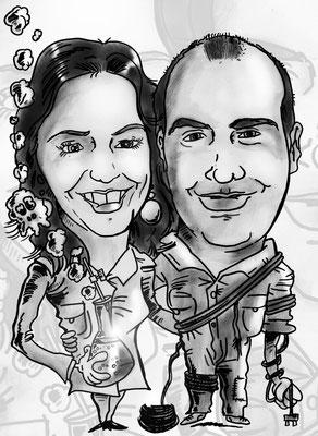 Caricatura de pareja blanco y negro personalizada con todos los detalles: 30€
