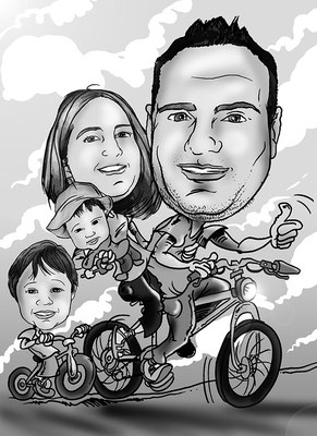 Caricatura de grupo: 2 adultos + 2 niños + vehículo en blanco y negro por 40€