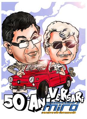 Caricatura especial, diseño dos personas + vehículo por 45€