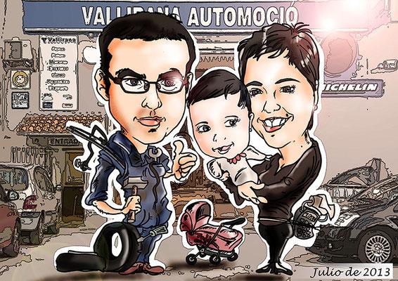 Caricatura de pareja + niño personalizada con todos los detalles: 45€