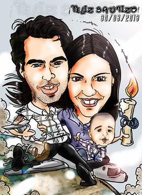 Caricatura de pareja + bebé, a todo color y con todos los detalles: 45€