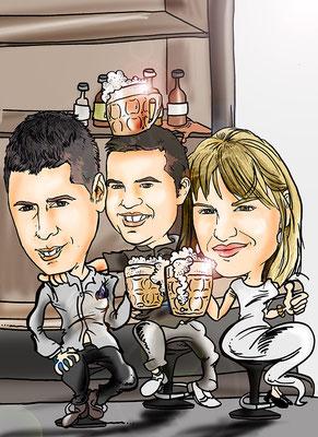 Caricatura de grupo, tres personas a todo colo y con todos los detalles: 55€