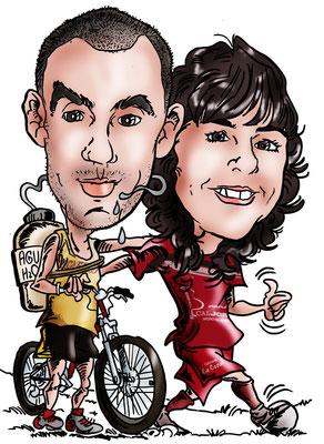 Caricatura de pareja + vehículo a todo color: 45€