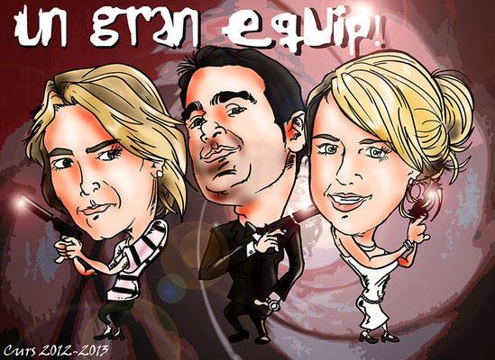 Caricatura personalizadade tres personas a color: 60€