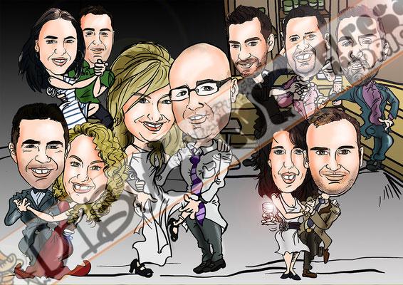 Caricaturas personalizadas de grupo por 12€/persona a todo color