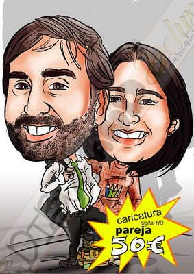 Caricatura personalizada pareja cuerpo entero color detalles