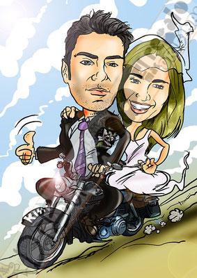 Caricatura online para regalar boda pareja y vehículo por 45€ a todo color