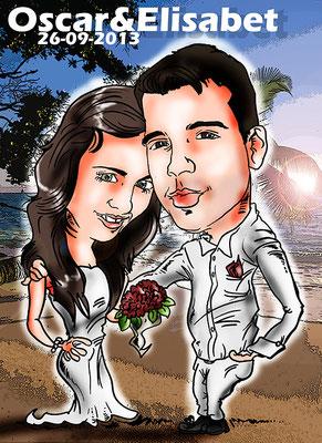Caricatura de pareja a color personalizada con todos los detalles: 40€