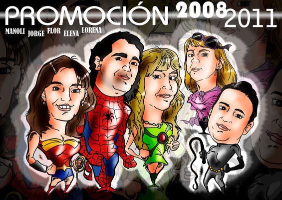Caricatura de grupo de 5 personas, a todo color, por: 100€