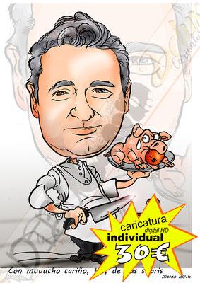 Caricatura personalizada individual cuerpo entero detalles profesión a color formato digital alta resolución