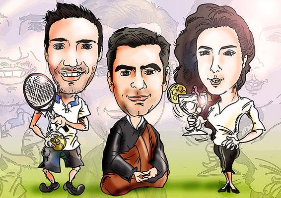 Caricatura de tres personas, con todos los detalles, por tan solo 60€