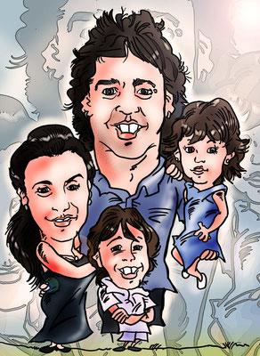 Caricatura personalizada de pareja + dos niños, por tan solo 50€