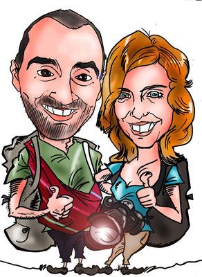 Caricatura de pareja, totalmente a su gusto, por tan sólo 40€ a todo color