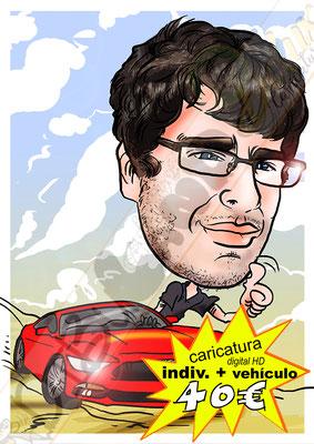 Caricatura personalizada individual cuerpo entero y vehículo a color formato digital alta resolución