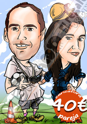 Caricatura pareja personalizada color cuerpo entero 40€